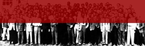 La imatge de presentació de l'exposició presenta a un grup de científics i intel·lectuals exiliats durant la Segona Guerra Mundial, pel seu origen ètnic o per estar en desacord amb la política nazi.